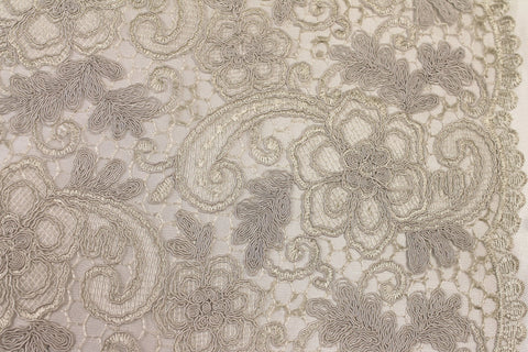 Silver Ivory Corded Embroidery -  - Golden D'or Fabrics