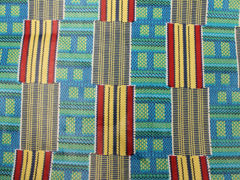 African Cotton Print- Tribal Stripe - Turquoise/Red/Yellow - Golden D'or Fabrics - 1