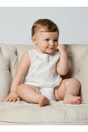 Baby Girl Sleeveless Two Piece Diaper Set - Classic Cream [product_tags] - Carriage Boutique