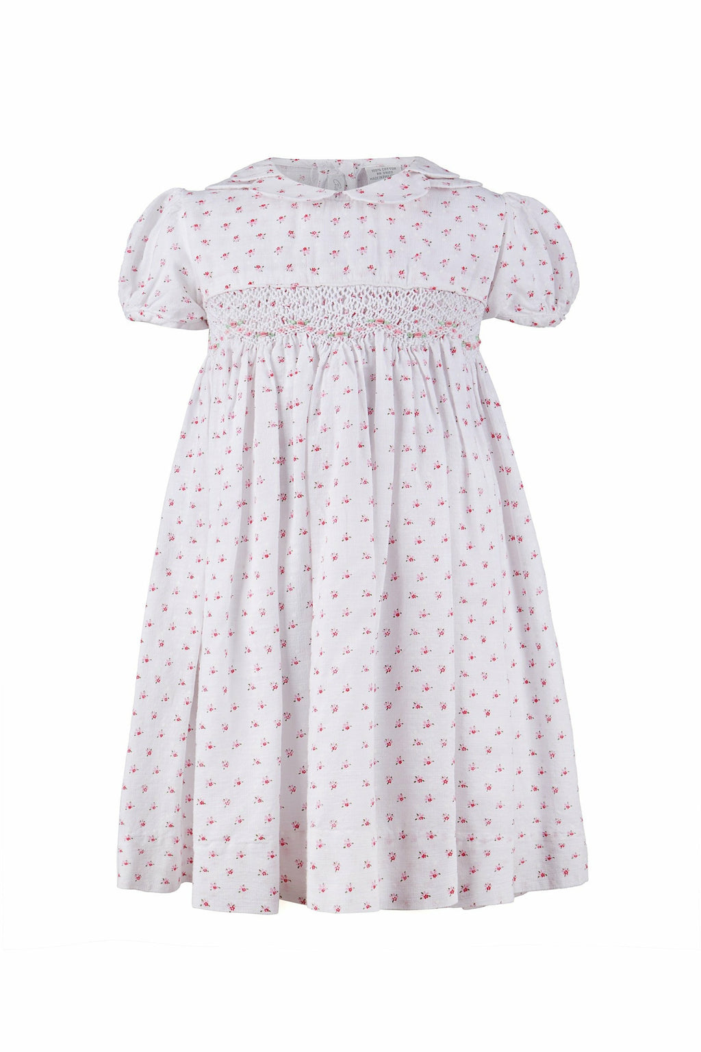 Yoke Dress Hand Smocked Floral White
