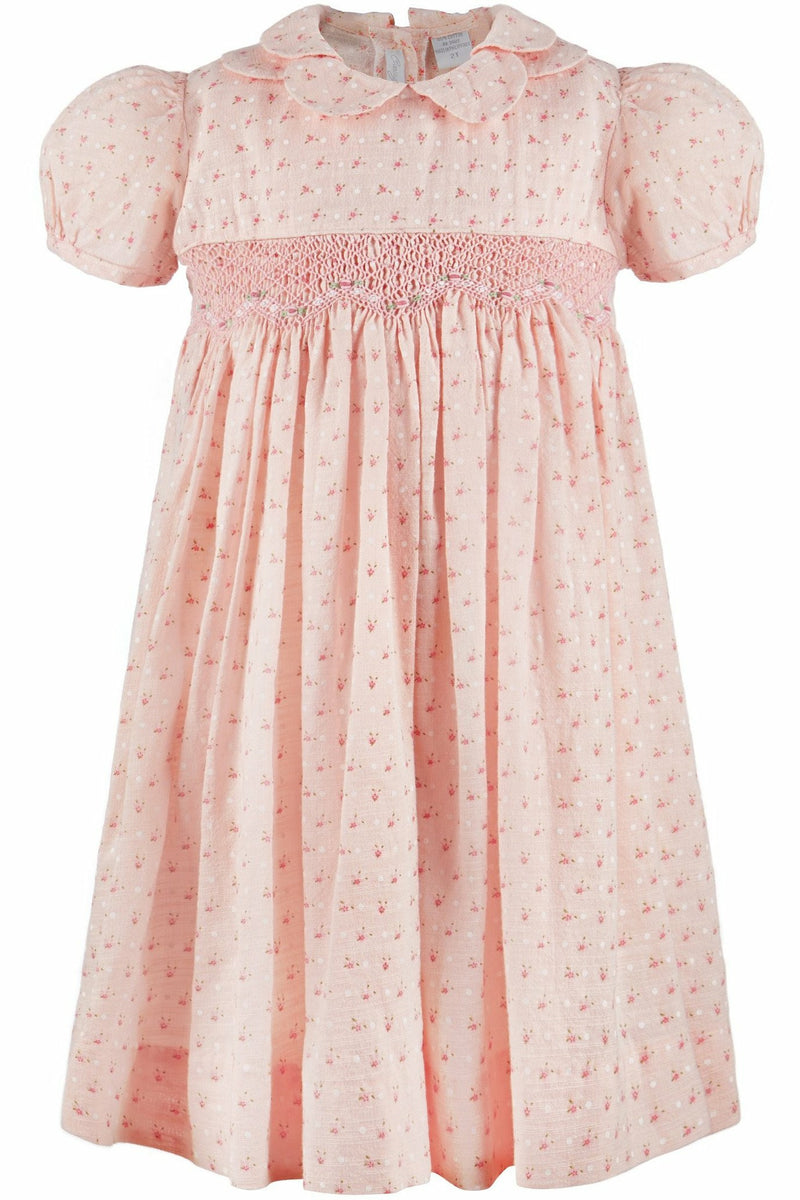 Yoke Dress Hand Smocked Pink