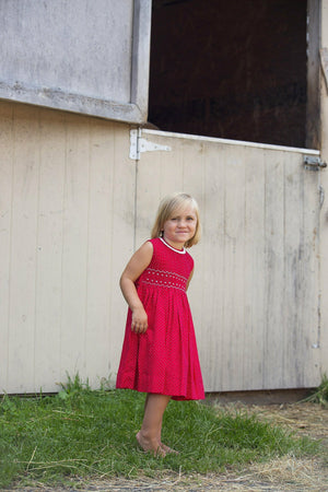 Hand Smocked Red Dress