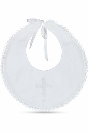 Christening / Baptism Bib with Cross and Satin Ribbon
