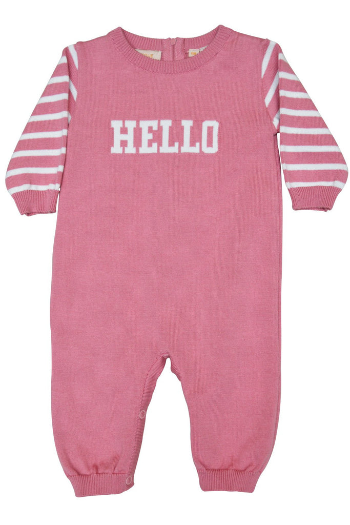 "Baby Girl's Knit Longall - Cozy & Comfy Pink ""Hello"" [product_tags] - Carriage Boutique"