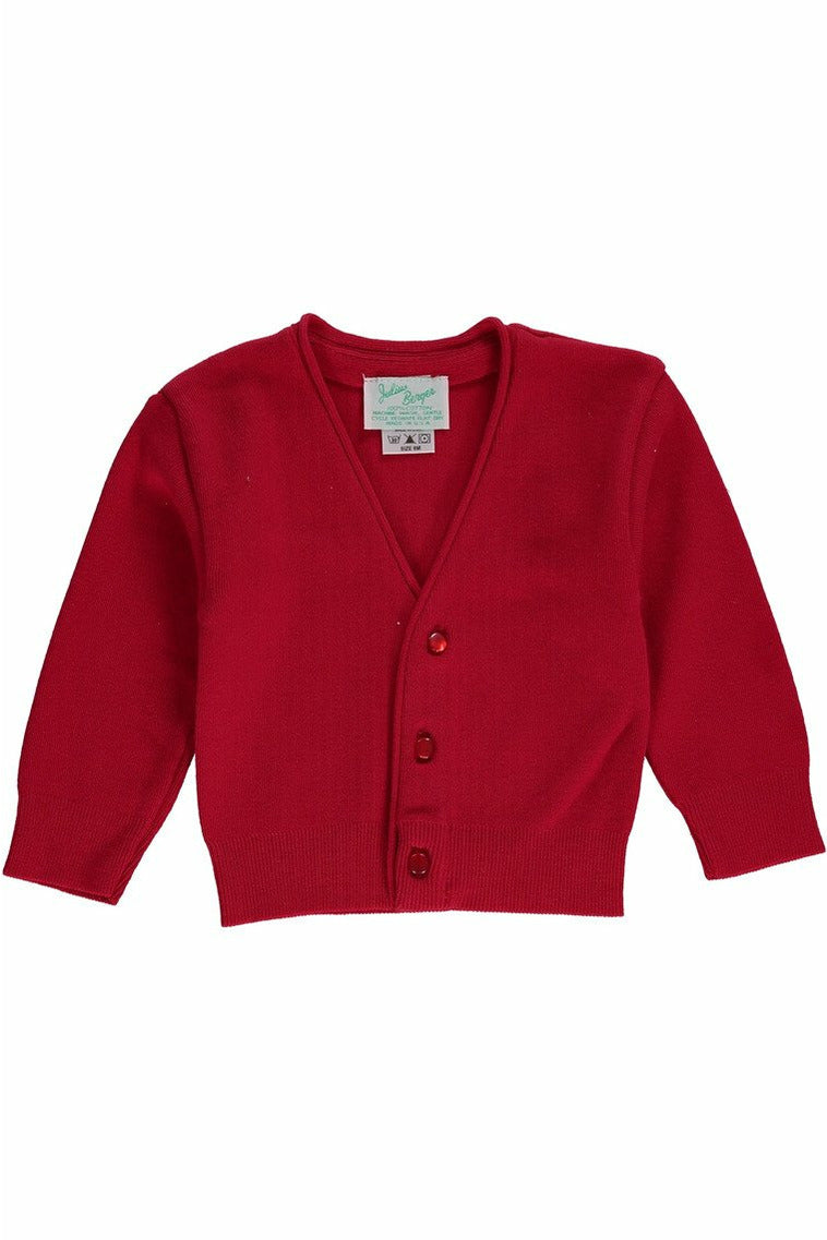 Red Cotton Cashmere Boy Cardigan