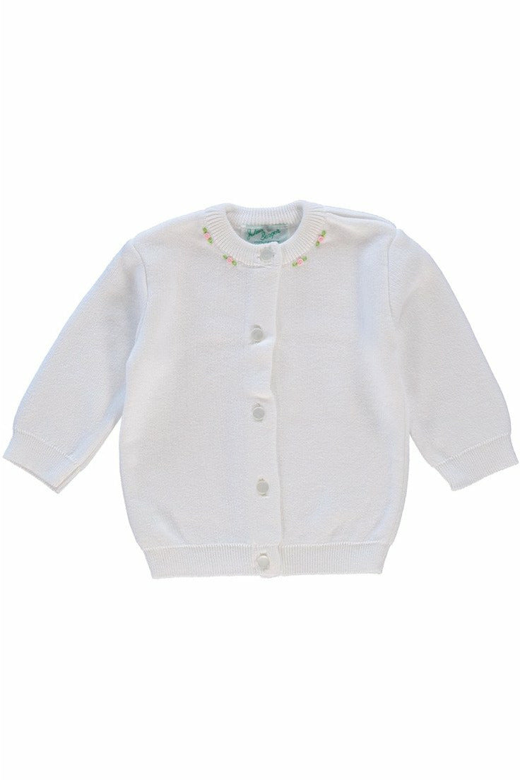Cotton Cashmere Girl Cardigan White with Rosebuds