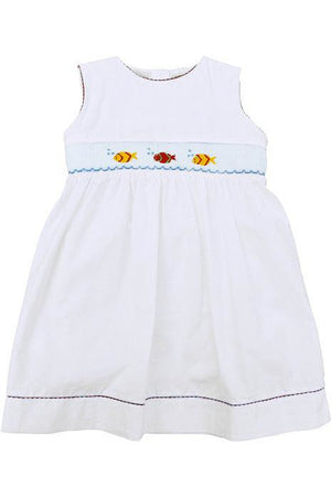 Baby Girl White Sleeveless Dress - Hand Smocked Colorful Fish [product_tags] - Carriage Boutique