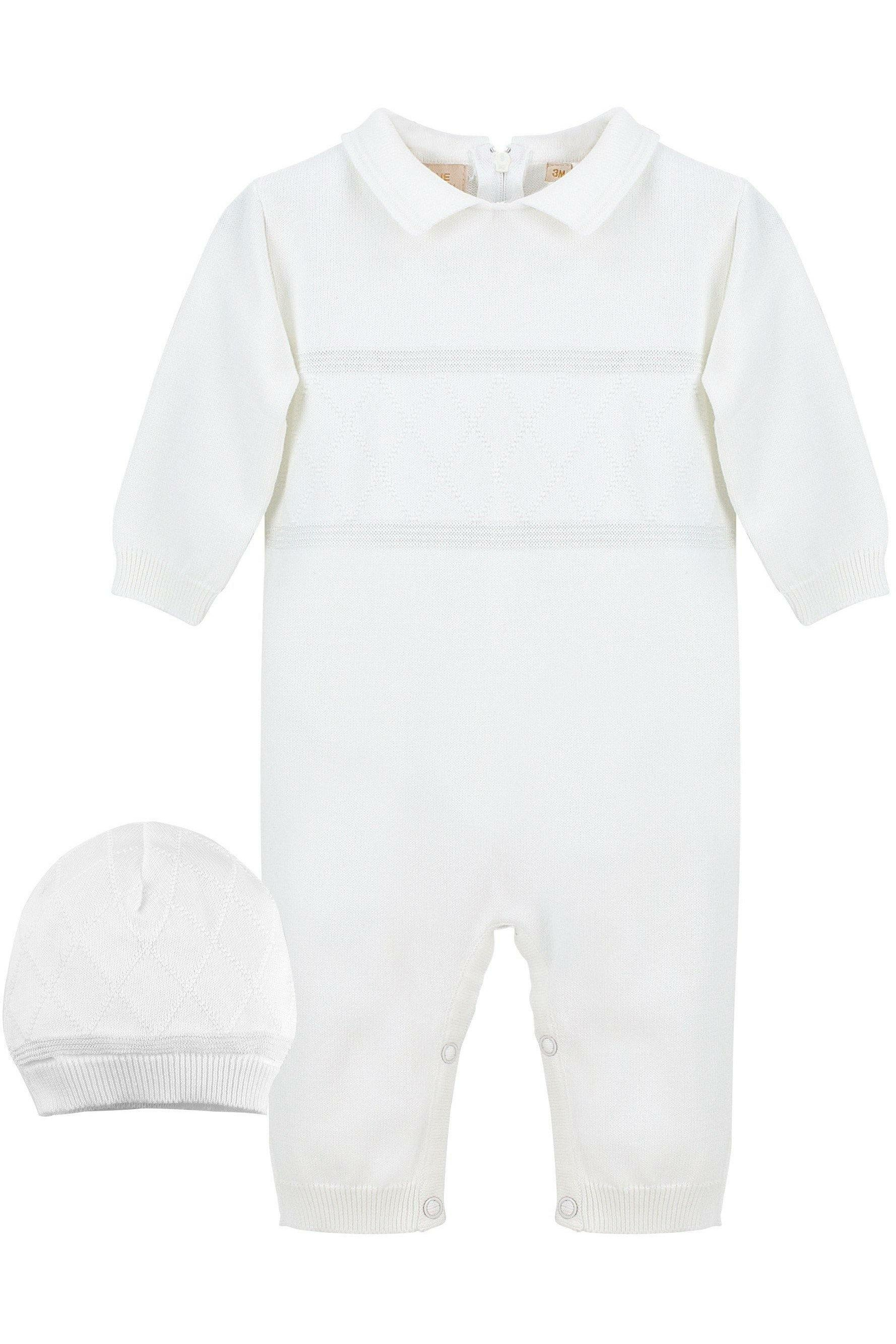 0769ba898 Baby Boys Christening Outfit - Coverall Diamond Stitching with Hat ...