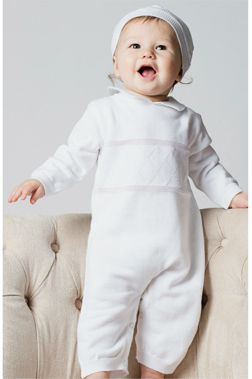 Baby Boys Christening Outfit - Coverall Diamond Stitching  with Hat