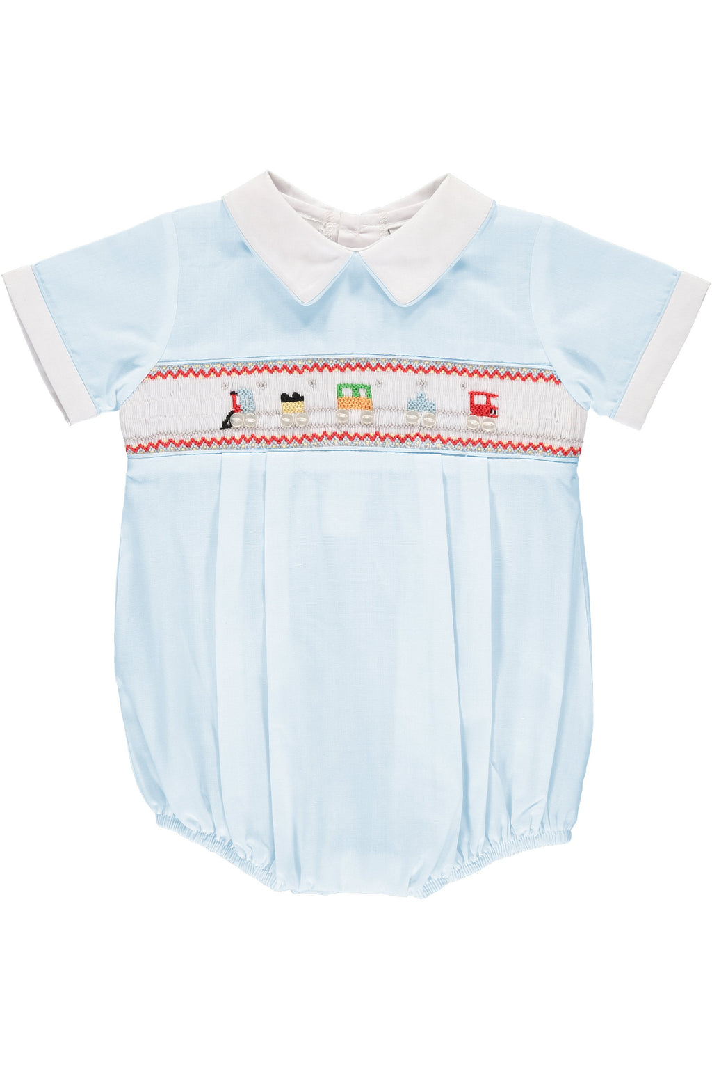 Baby Boys Hand Smocked Creeper - Smocked Trains, , Carriage Boutique, Imagewear