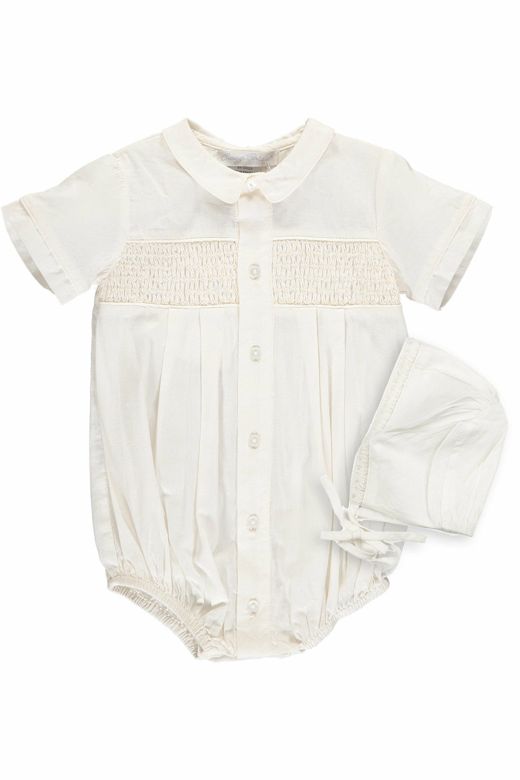 Baby Boys Hand Smocked Special Occasion Creeper with Bonnet - Ivory