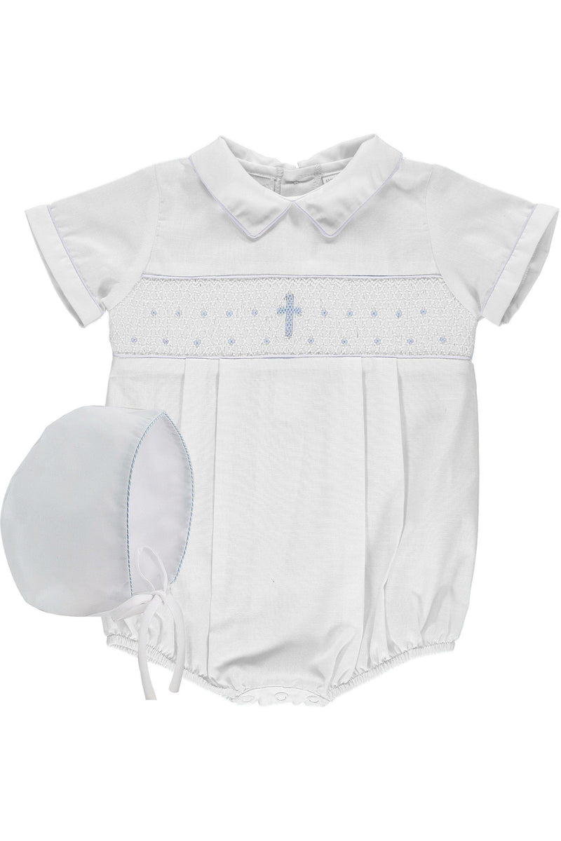 Baby Boy White Smocked Cross Creeper + Bonnet