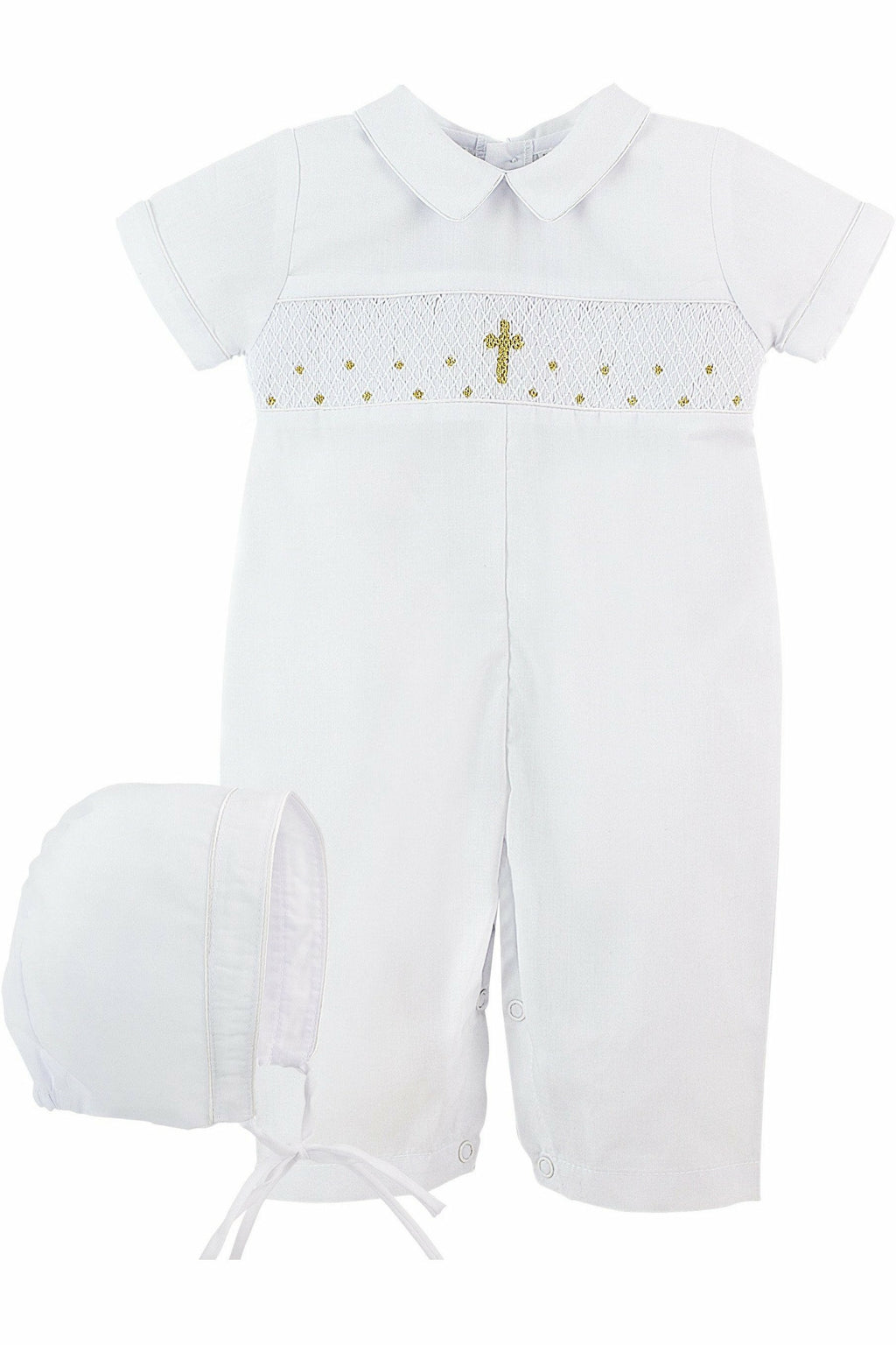 Christening Baptism Boys Hand Smocked Cross Longall matching Bonnet