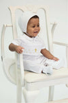 Baby Boys Hand Smocked Christening Baptism Gold Cross Longall with Bonnet - White