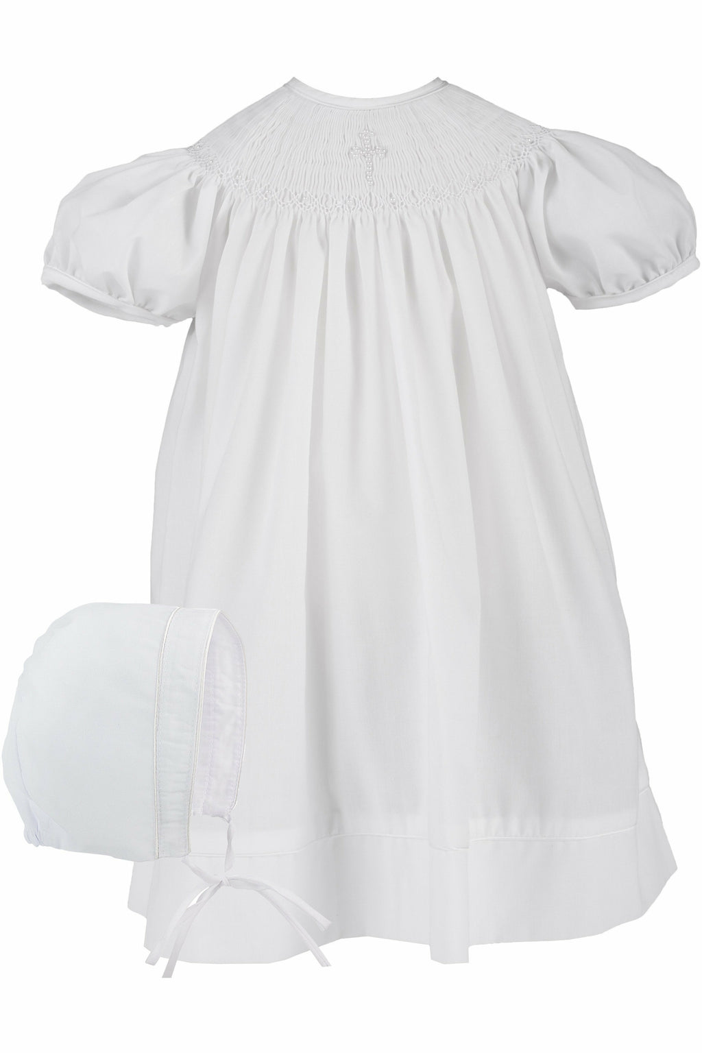Baby Girls Hand Smocked Christening /Baptism Pearl Cross Bishop Dress with Bonnet - White