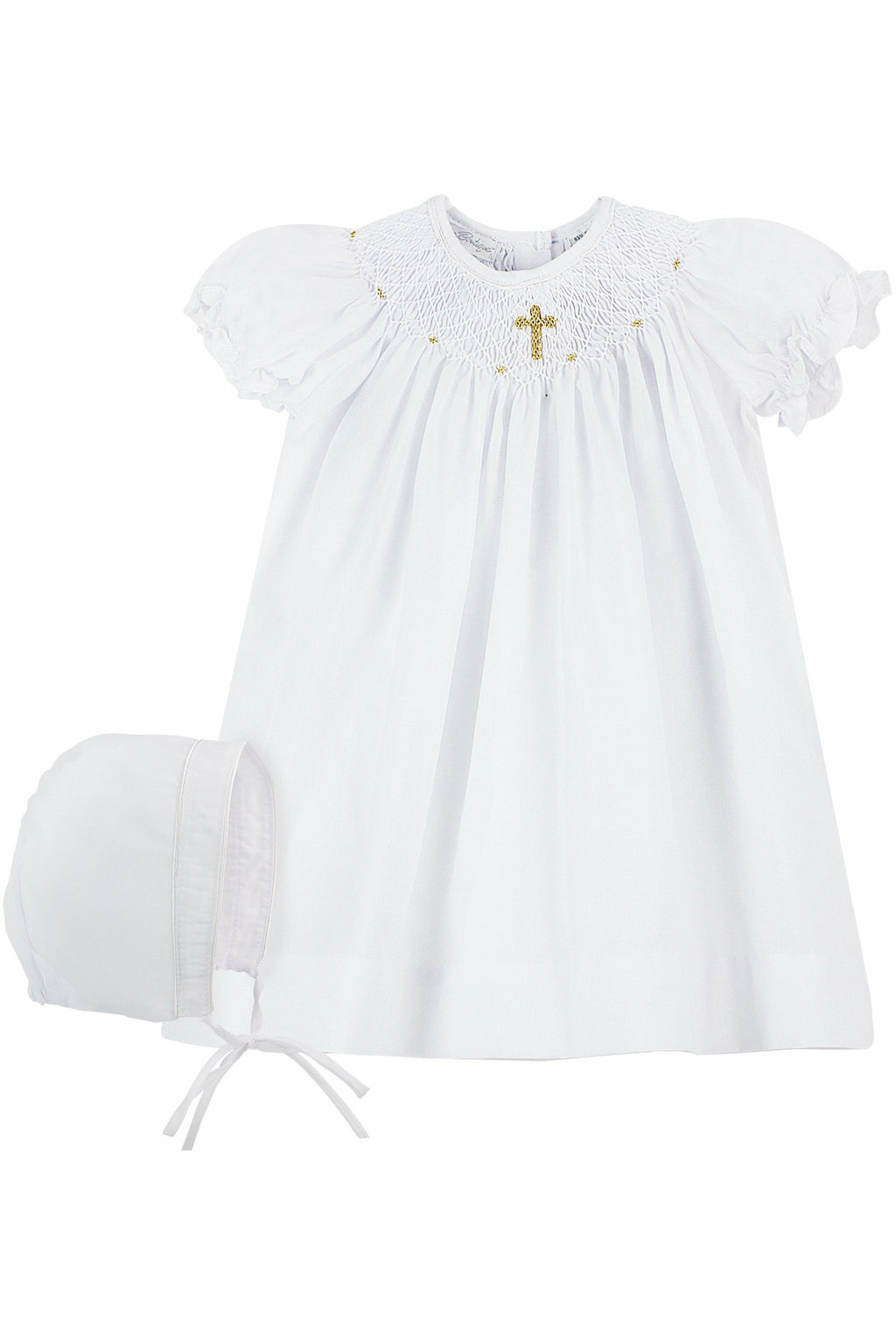 Baby Girls Hand Smocked Christening Baptism Dress - Gold Cross + Bonnet