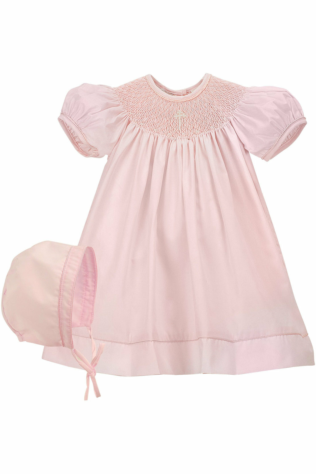 Baby Girls Hand Smocked Christening /Baptism Pearl Cross Bishop Dress with Bonnet - Pink