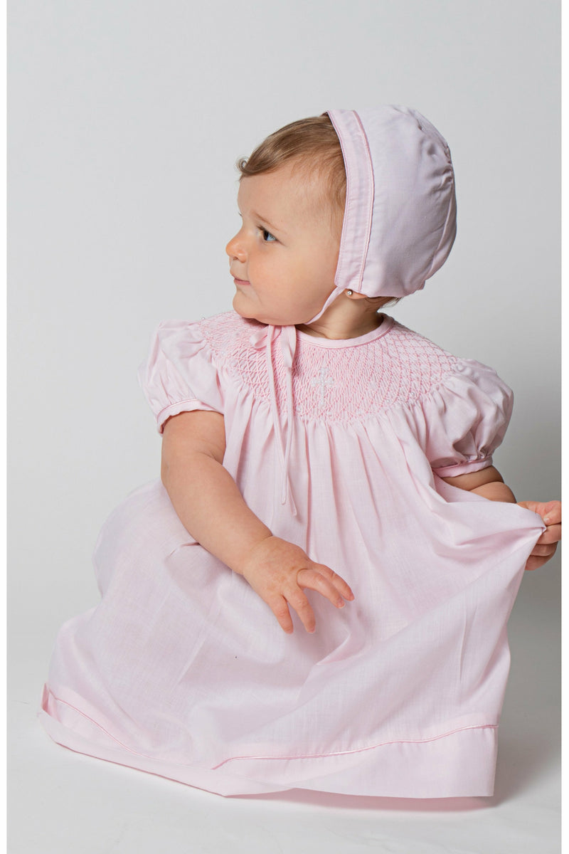 Baby Girl Hand Smocked Christening/Baptism Pearl Cross Bishop Dress with Bonnet - Pink