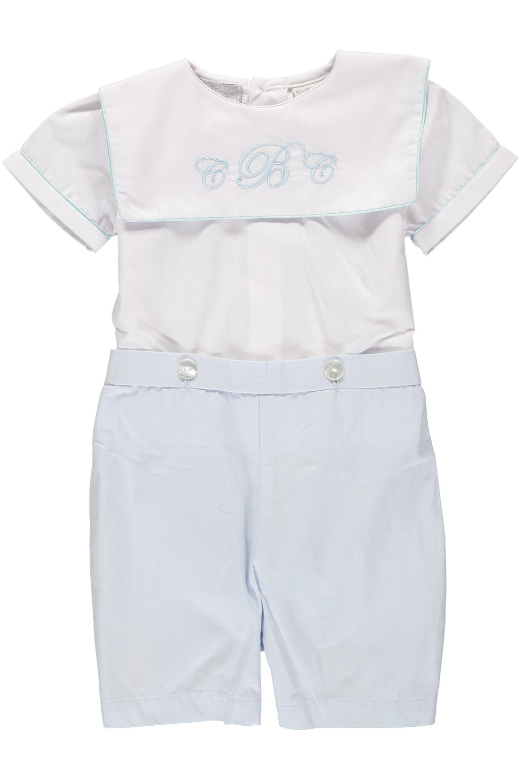 Carriage Boutique Baby Boy Classic Monogram Blank Bobbie Suit - White Blue [product_tags] - Carriage Boutique