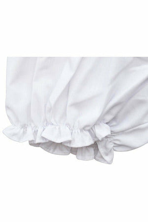 Baby Girl Panty Diaper Covers - White Bloomers with Pink Bow