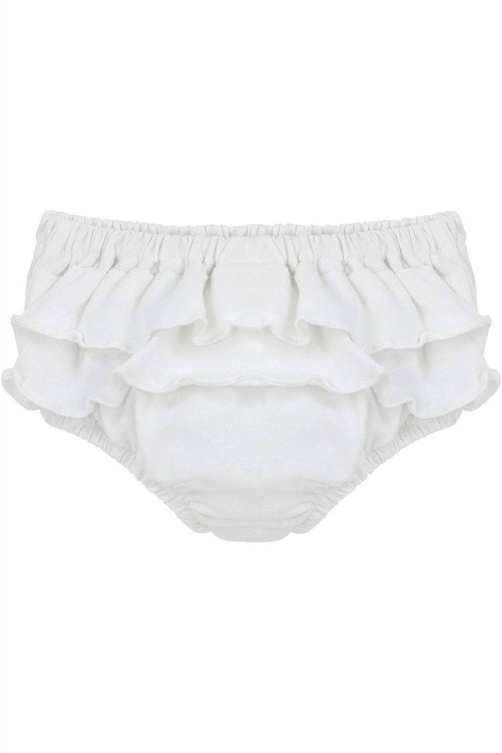 Carriage Boutique Baby Girls Cotton Panty Diaper Covers Ruffled White Flowers