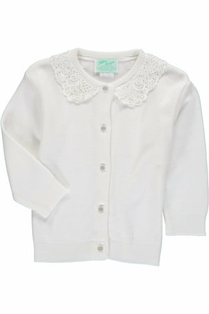 Cotton Cashmere Girl Cardigan White with Lace Collar