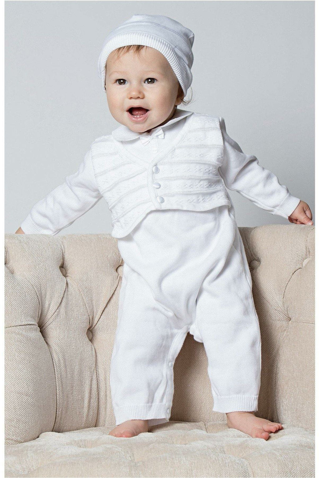 Baby Boys Christening Outfit with attached Vest and Hat