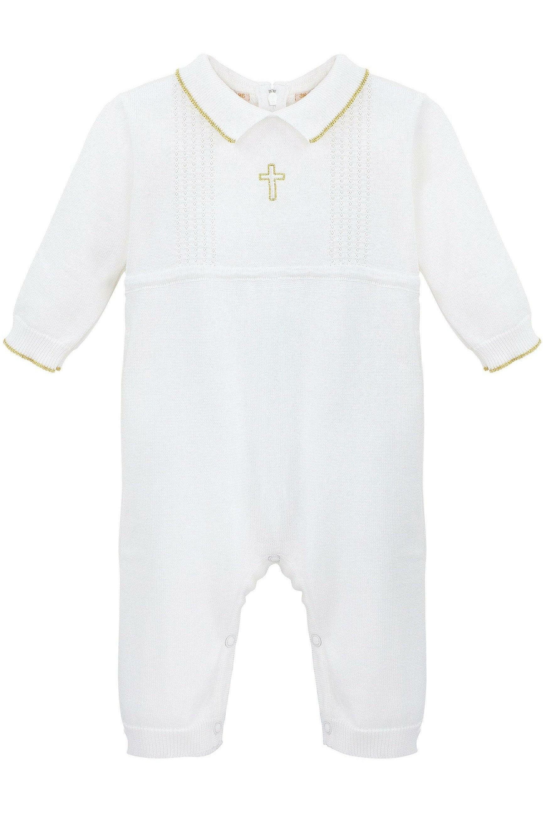 Baby Boys Baptism Romper and Hat with Embroidered Cross White 12 Months