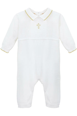 Baby Boy Christening Baptism  Romper - Cross Detail with Hat