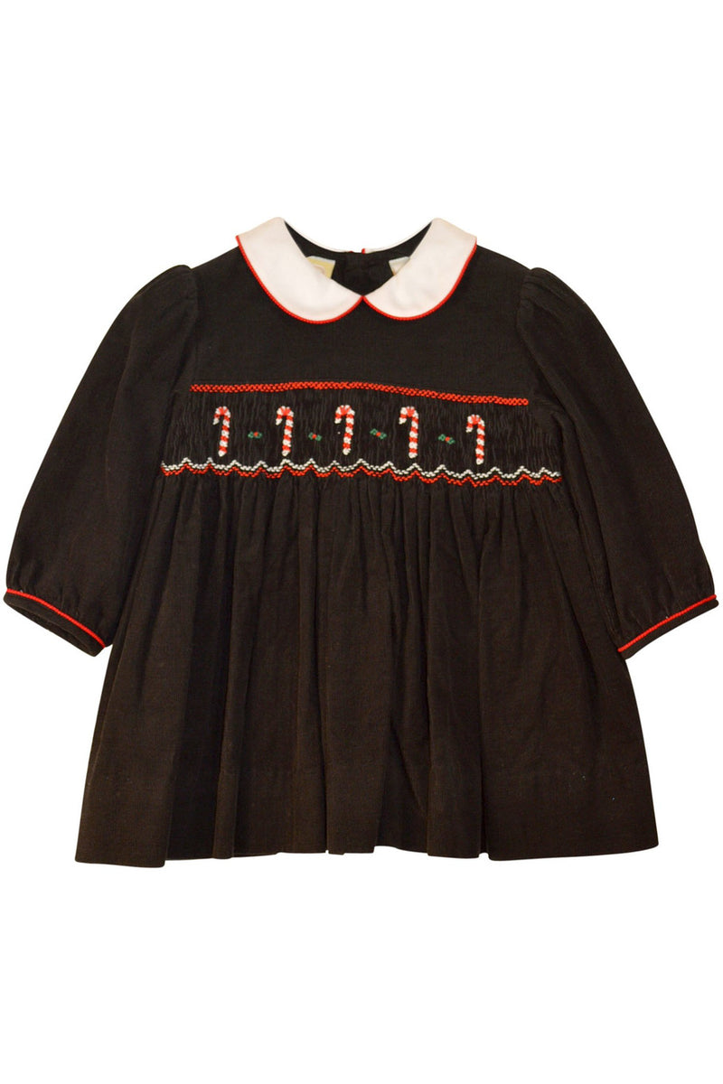 Baby Girl's Black Hand Smocked Holiday Dress - Christmas Candy Cane [product_tags] - Carriage Boutique
