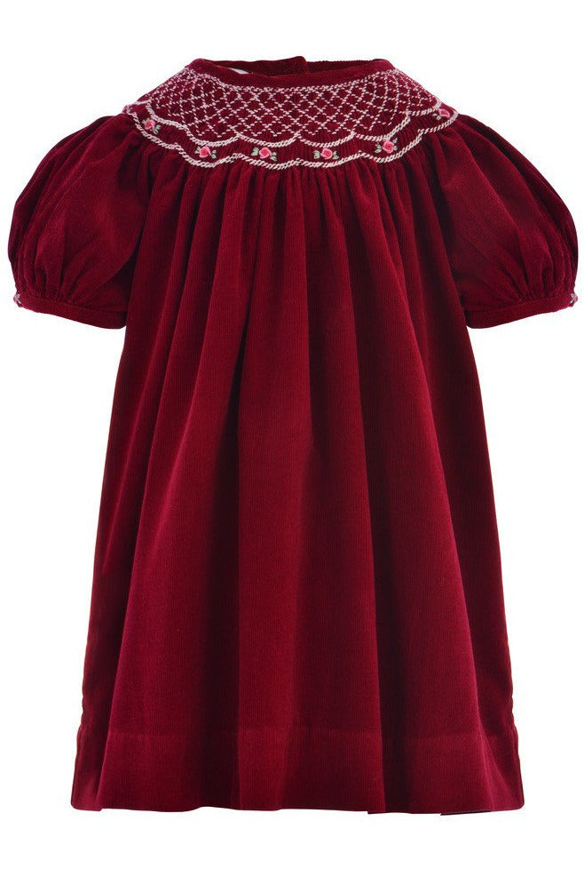 Baby Girls Maroon Corduroy Bishop Short Sleeve Dress [product_tags] - Carriage Boutique