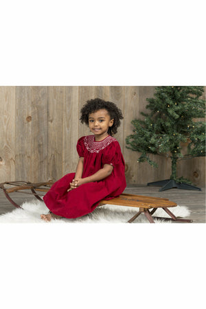 Baby Girls Maroon Corduroy Bishop Short Sleeve Dress