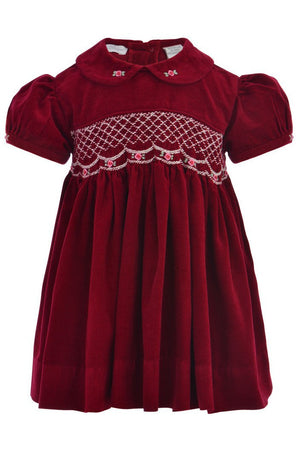 Baby Girls Maroon Corduroy Short Sleeve Dress [product_tags] - Carriage Boutique