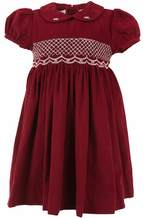 Baby Girls Maroon Corduroy Short Sleeve Dress