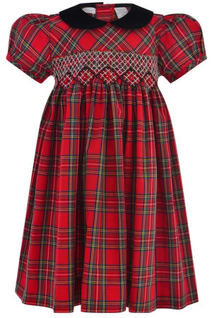 Baby Girls Plaid Short Sleeve Dress with Hand Smocked Design [product_tags] - Carriage Boutique