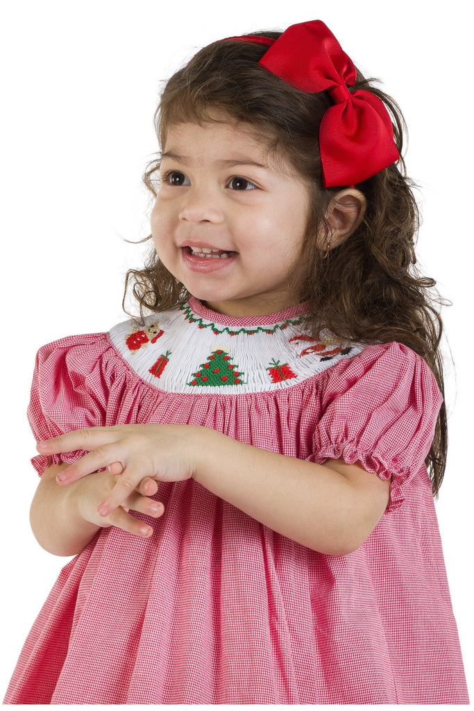 Baby Girls Light Red Hand Smocked Bishop Dress [product_tags] - Carriage Boutique