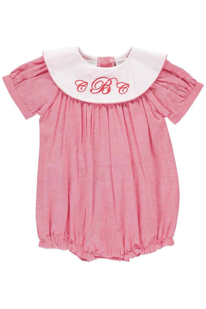 Baby Girls Light Red Monogram Blank Bubble [product_tags] - Carriage Boutique