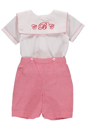 Baby Boys Light Red Monogram Blank Bobbie Suit [product_tags] - Carriage Boutique