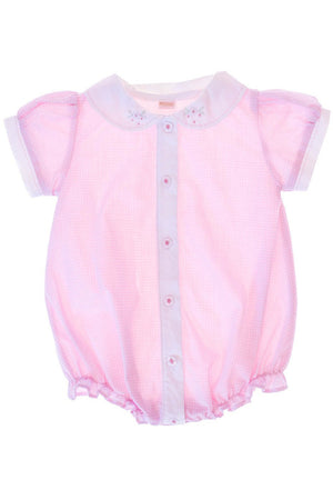 Baby Girl Hand Embroidered Bubble Romper - Pink [product_tags] - Carriage Boutique