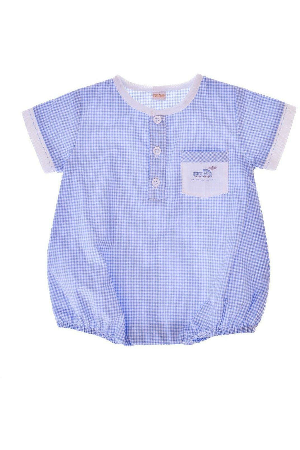 Baby Boy Hand Embroidered Creeper Romper - Blue Train [product_tags] - Carriage Boutique