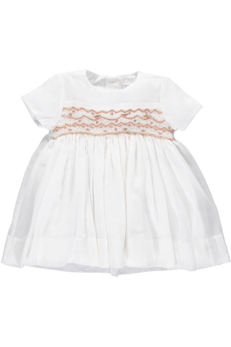 Baby Girl Cream Smocked Light Voile Dress [product_tags] dress- Carriage Boutique