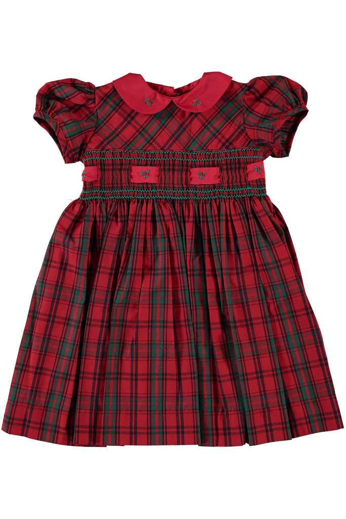 Red Plaid Group Short Sleeve Dress