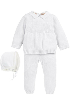 Baby Boy Knit Pearl Cross 2 Piece Outfit + Bonnet
