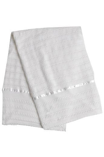 Carriage Boutique's White Baby Blanket with Silk Lines [product_tags] - Carriage Boutique