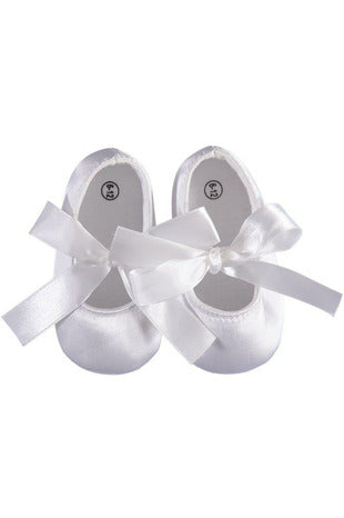 Baby Girls Christening/Baptism Shoes Soft Soles with Satin Bow