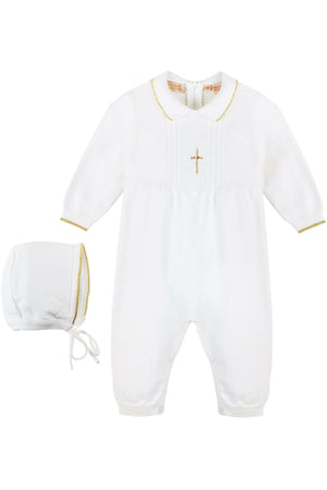 Baby Boy Knit Pearl Gold Cross Outfit + Bonnet