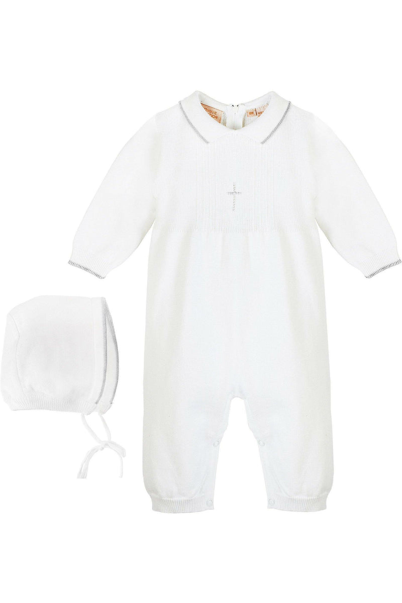 Baby Boy Knit Pearl Silver Cross Outfit + Bonnet