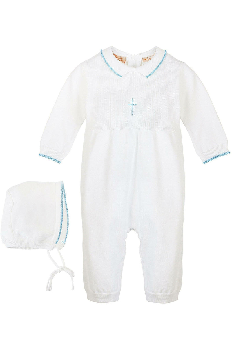 Baby Boy Knit Pearl Blue Cross Outfit + Bonnet