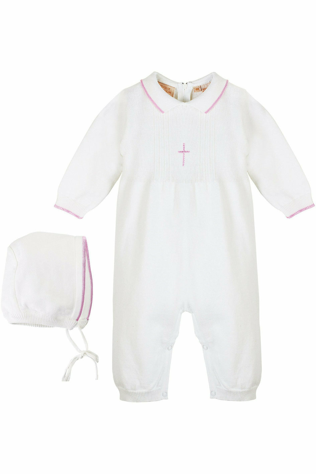Baby Girl Knit Pearl Pink Cross Outfit + Bonnet