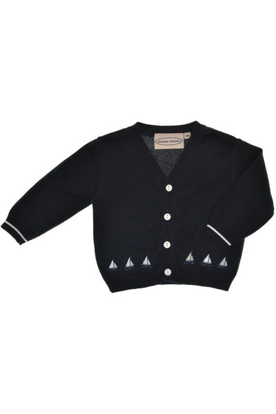 Sailing Ships in Navy [product_tags] sweater- Carriage Boutique